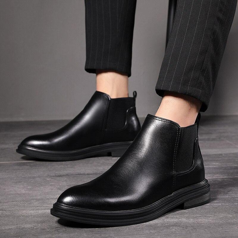 Extra Large Code 38-48 Autumn And Winter Plus Velvet Men's Boots Wedding Dress Business Short Boots Walking Shoes For Men ZM-95