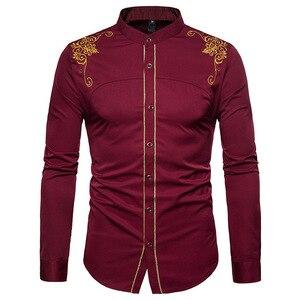 Image 1 - قميص رجالي صيني مطرز باللون الذهبي قميص بياقة الماندرين للرجال فستان رجالي بأكمام طويلة قميص فاخر بقصر قميص سهرة للرجال