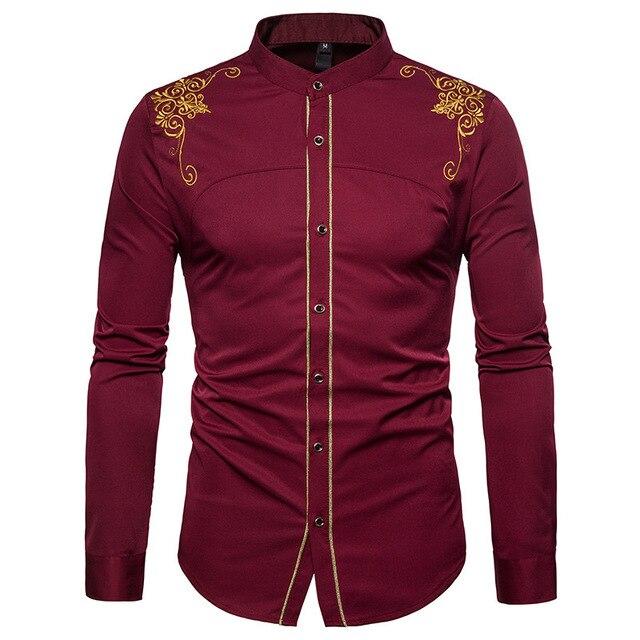 قميص رجالي صيني مطرز باللون الذهبي قميص بياقة الماندرين للرجال فستان رجالي بأكمام طويلة قميص فاخر بقصر قميص سهرة للرجال