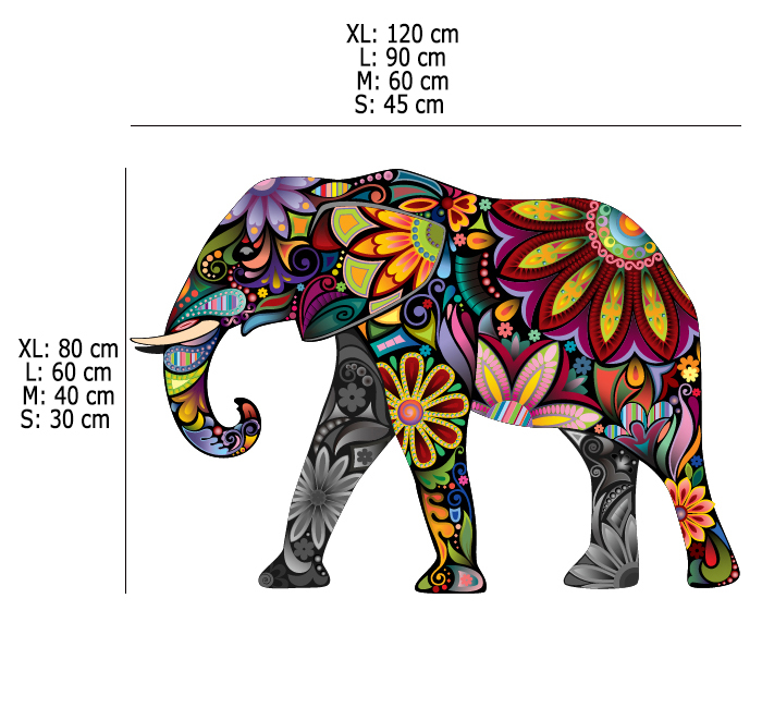 Cheerful Flower Pattern Elephant Wall Decals Vibrant Floral Pattern Animal Easy Peel and Stick Wall Stickers Kids Room Decor in Wall Stickers from Home Garden