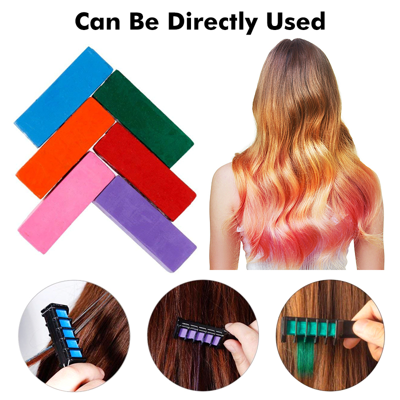 Temporary Pro Hair Dye 6 Colors Mini Hair Chalks Crayons For Hair Color Multicolor Hair Dye Comb Hair Care Styling Tools TSLM2