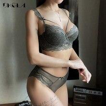 Camiseta nueva y fina de algodón para mujer, Conjunto de sujetador Sexy, vendaje, tentación, ropa interior de encaje, conjunto de talla grande, sujetador bordado negro, lencería