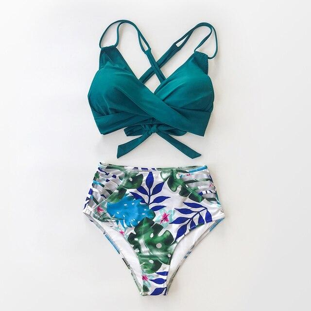 Bikini de cintura alta para mujer, traje de baño Sexy de dos piezas con estampado 7