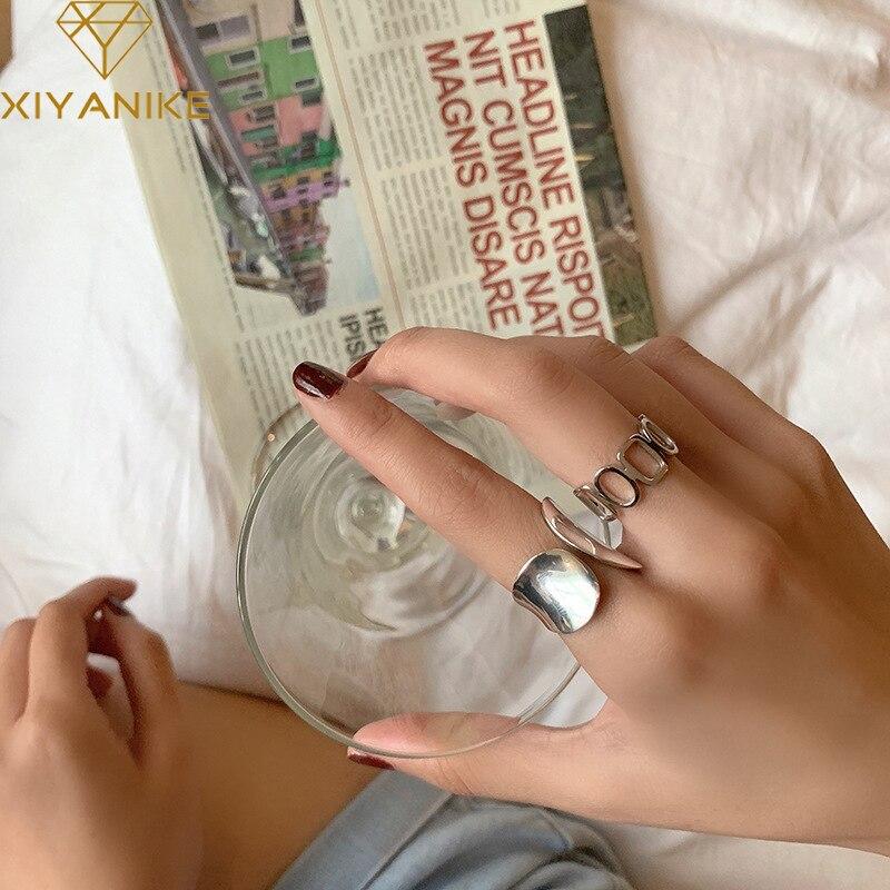 XIYANIKE 925 en argent Sterling brillant creux géométrique anneau rétro Unique conception de mode à la main bijoux Index doigt ouvert anneau