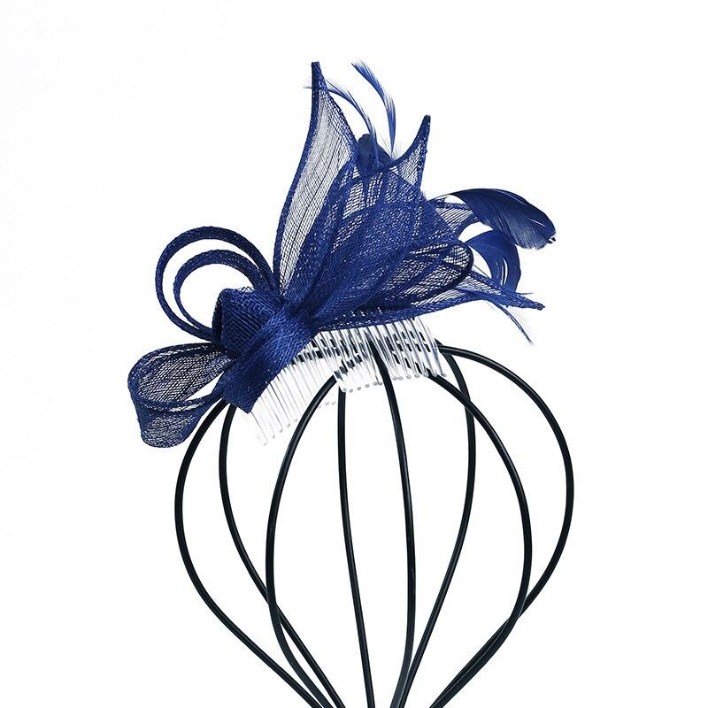 Mingli Tengda mariée petit chapeau formel Cambric cheveux décorer chapeaux bleu mariage chapeaux et Fascinators accessoires tiare cage à oiseaux
