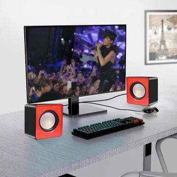 Kebidumei Mini Music Loudspeaker USB 2.0 Stereo Speakers for PC Laptop Notebook Computer Desktop Home Theater Party 4