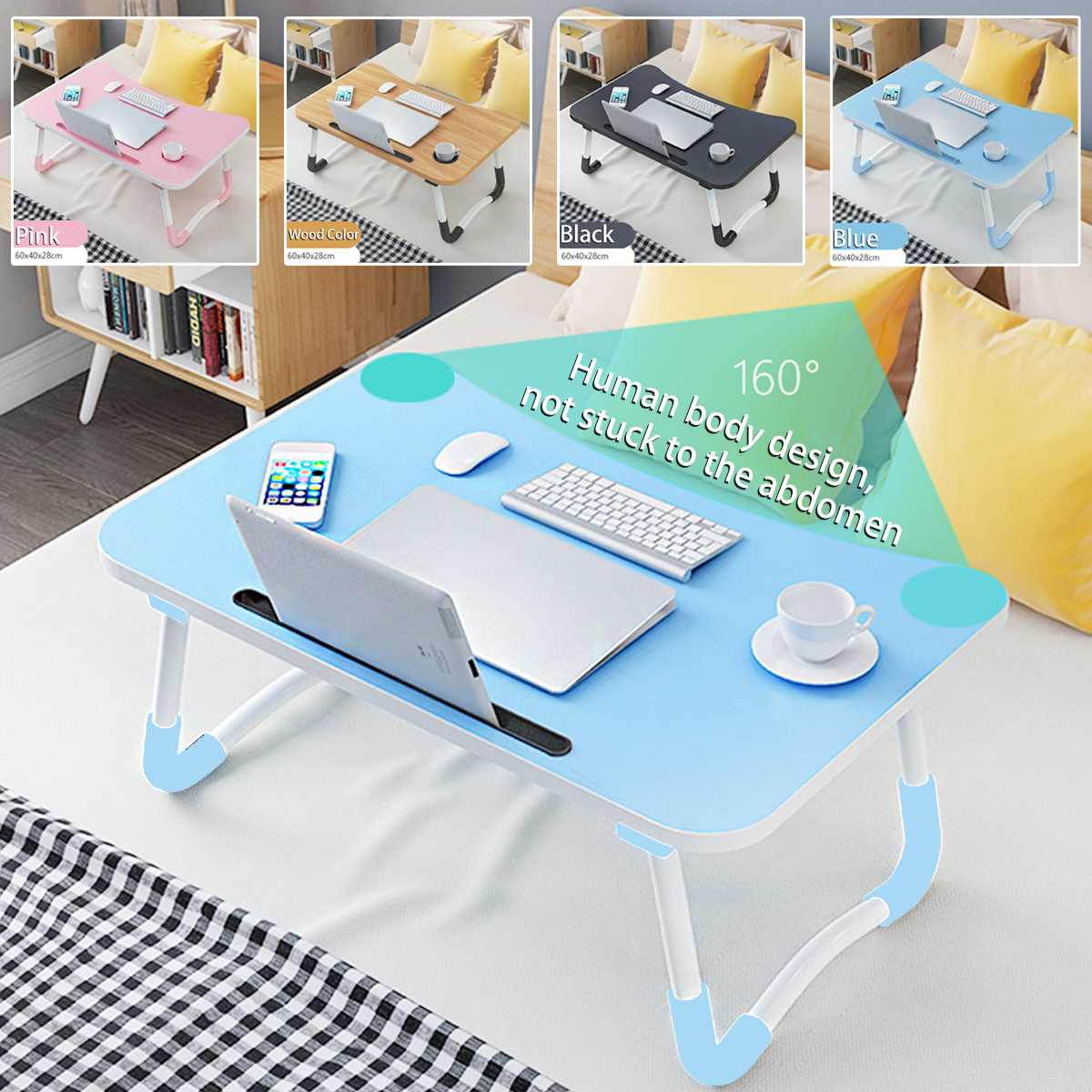 Folding Laptop Table Notebook Desk Breakfast Serving Bed Trays Wooden Foldable Computer Desk Stand Portable Study Table Desk