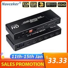 2020 Best 4K 4x2 HDMI Matrix Switch Splitter Switcher EDID Impostazione Switch HDMI 4x2 con dual SPDIF e Ottico Toslink HDMI Matrix