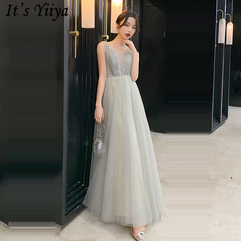 It's Yiiya Evening Dress Elegant V-neck Sleeveless Formal Gowns For Women Plus Size Crystal Long 2020 Robe De Soiree LF229