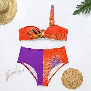 KNOWDREAM Bikini European and American Contrasting Color Bikini Ladies One Shoulder Swimwear Bikini 2