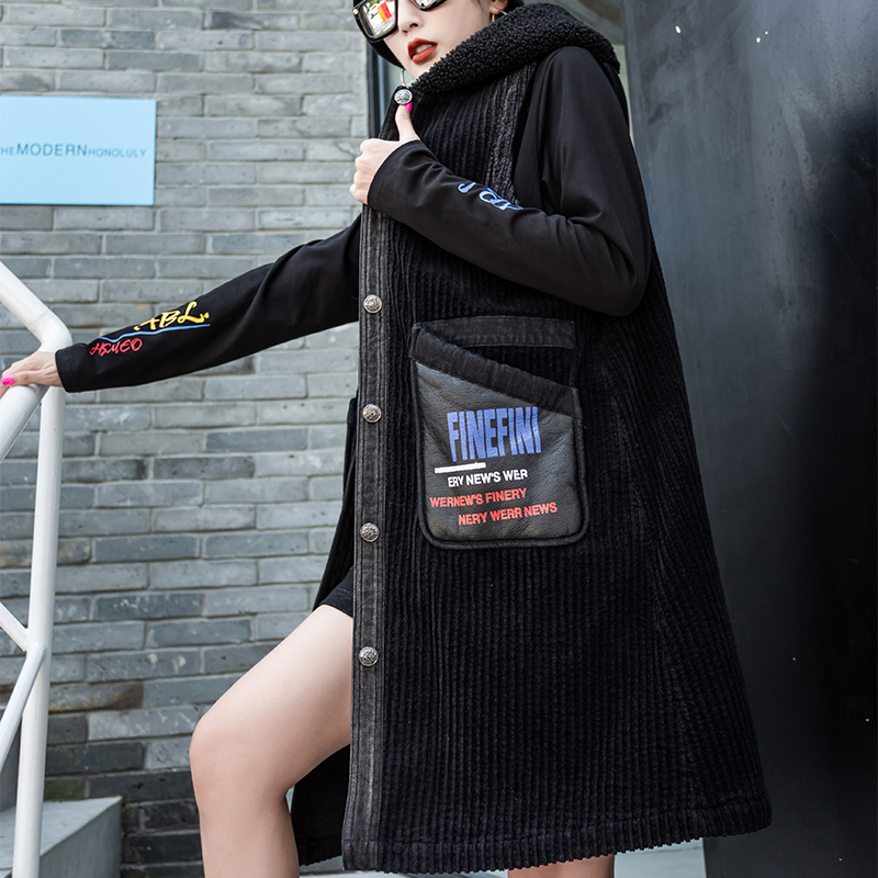 ANIMA DI TIGRE 2019 Coreano Delle Signore Del Progettista di Lusso Stampato Gilet Delle Donne Lungo Gilet Con Cappuccio Inverno Caldo Imbottito Cappotti Più Il Formato - 4