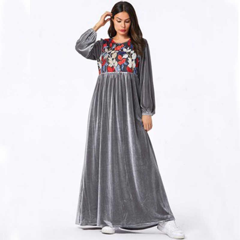 女性ベルベットカフタンモロッコドレスグレーロングドバイアバヤ厚く冬秋春プラスサイズイスラム教徒の女性のローブアラブ