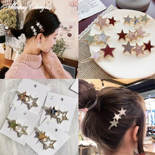 Fashion Geometric Pentagram Five Pointed Star Hair Clips Hairpin Sweet Resin CrystalElegant Temperament Woman Accessories