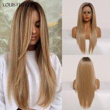 LOUIS FERRE Brown Honey Golden Ombre Lace Front Wig Women Long Middlle