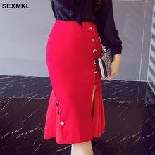 SEXMKL юбки размера плюс женские летние модные сексуальные юбки с высокой талией красные женские офисные черные юбки карандаш