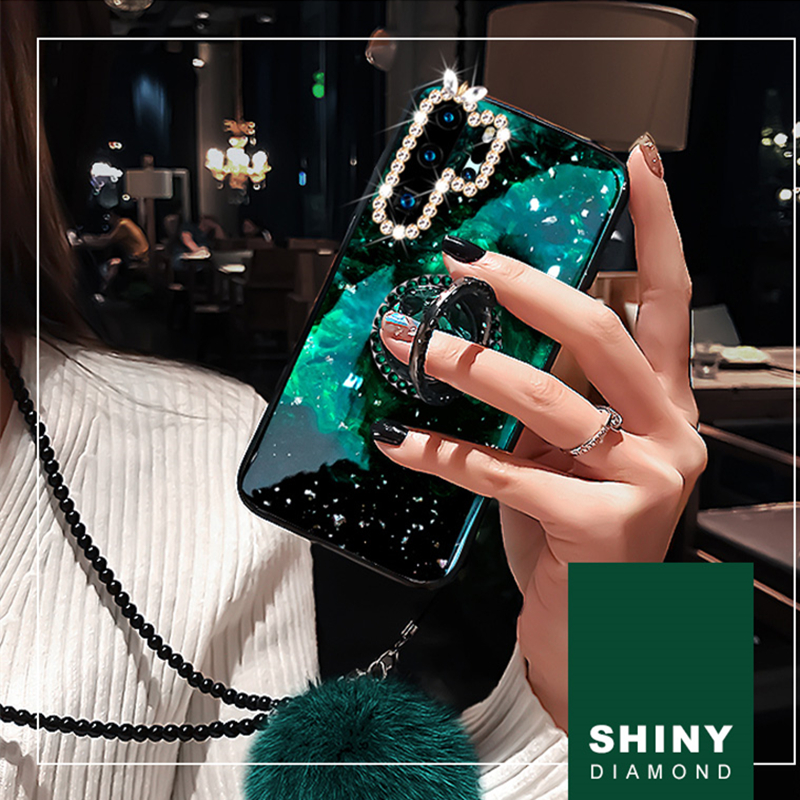 Marble <font><b>Diamond</b></font> Finger Ring <font><b>Case</b></font> For <font><b>Huawei</b></font> P30 <font><b>P20</b></font> Nova 5 Pro <font><b>Case</b></font> Bling Glitter Cover With Strap Fur Ball 360 Ring Holder image