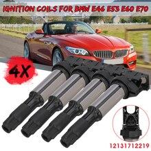 4pcs הצתה סלילי עבור BMW E46 E53 E60 E70 E71 E90 X3 X5 M3 Z4 12131712219 12137551260