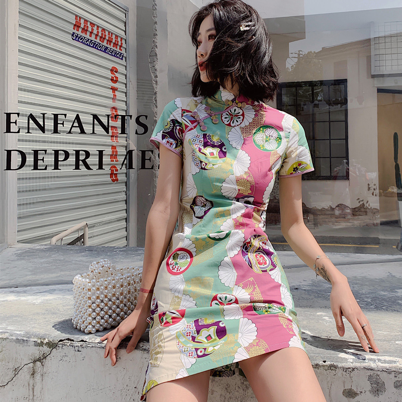 2020 Chinese Dress Qipao Girl Floral Printing Cheongsam Dress Girls Qipao Cotton Dress Party Evening Wear Vintage Chinese Dress