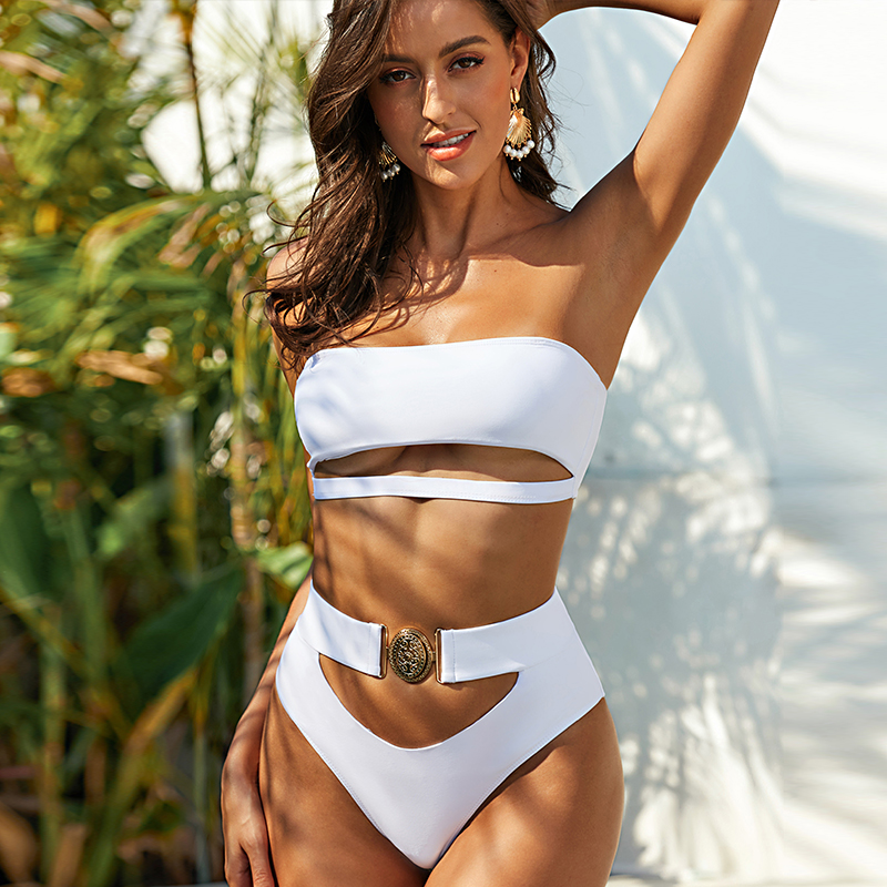 Mossha Hollow Out White Swimwear Woman Bandeau Bikinis 2020 Mujer Metal Buckle Belt Swimsuit Women Biquini Female Bathing Suit