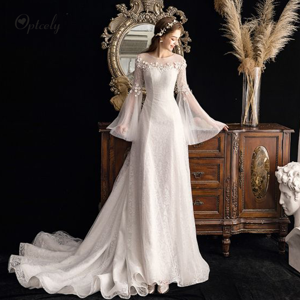 Optcely Vestido De Noiva Classy Flare Sleeve Scoop Neck Bohemian A-Line Tulle Wedding Dress 2019 Appliques Beading Princess Gown