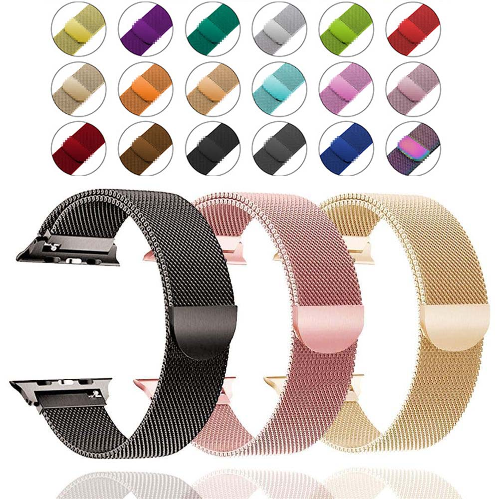 Band For Apple Watch 4 1/2/3 Loop Bracelet Stainless Steel Milanese 42mm 38mm Bracelet Strap For Iwatch Series 40mm 44mm