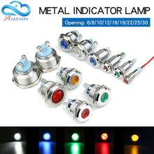 6/8/10/12/16/19/22/25/30MM Metal LED Warning Indicator Light Signal Lamp 6V 12V 24V 110V 220V