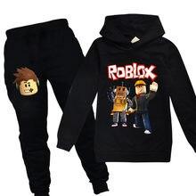 Robloxing fantasia crianças conjuntos de roupas para meninos algodão traje de aniversário terno manga longa ternos do esporte das crianças hoodies topos + calças