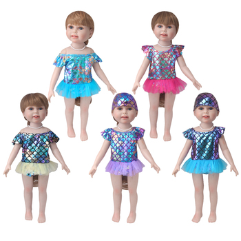 18 inch Girls doll swimsuit A shiny bathing suit dress Baby toys cap American new born clothes fit 43 cm baby accessories c883 baby born doll clothes toys white polka dots dress fit 18 inches baby born 43 cm doll accessories gc18 36