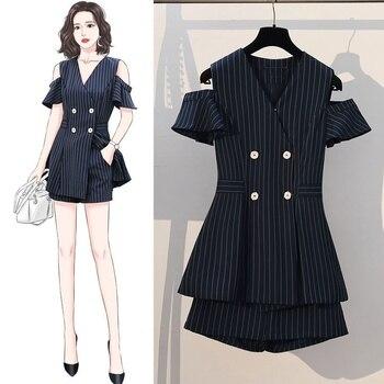 Two Piece Set 2021 Korean Summer Striped Women Summer Casual Women's Double Breasted Blazer Coat Shorts Elegant Work Suits 1