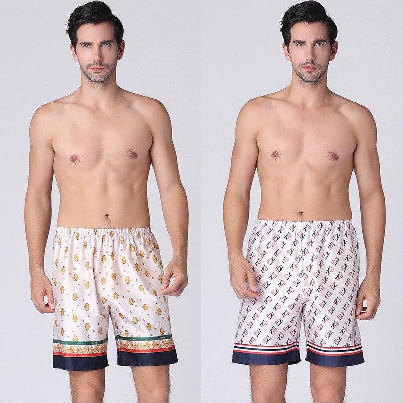 2020 Summer Men Fashion Homewear  Shorts Faux Silk Satin Pajama Sleepwear Loungewear Underwear
