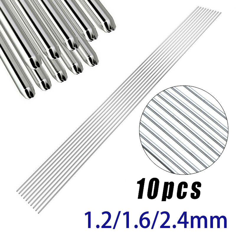 10pcs/set Welding Rods 1.2mm / 1.6mm / 2.4mm 316L Stainless Steel TIG Welding Rods 330mm Long High Quality