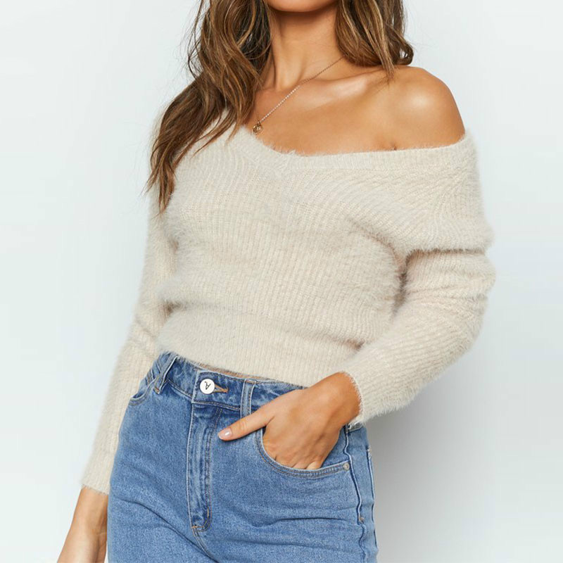 Sexy V Neck Fluffy Crop Sweater Women 2019 Slim Long Sleeve Pullovers Fuzzy Angora Solid Black White Winter Sweater