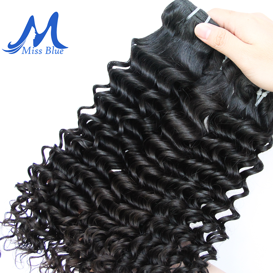 Missblue Deep Wave Malaysian Hair Weave Bundles 1 3 4 Pieces 100% Human Hair Bundles Natural Color Remy Hair Extensions 7