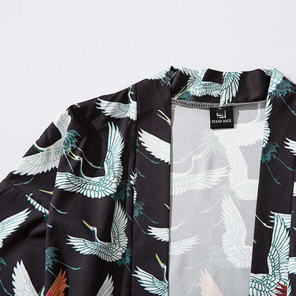 Sommer Japanischen Fünf Punkt Ärmeln Kimono Japanse Kimono Heren En Dames Kaminsims Jacke Top Bluse Literaire Losse