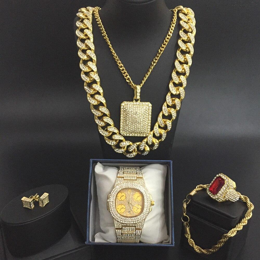 Montre de luxe pour homme montre Hip Hop cubaine glacée et collier & pendentif & Bracelet & bague & boucle d'oreille ensemble Combo pendentif ensemble de bijoux pour hommes