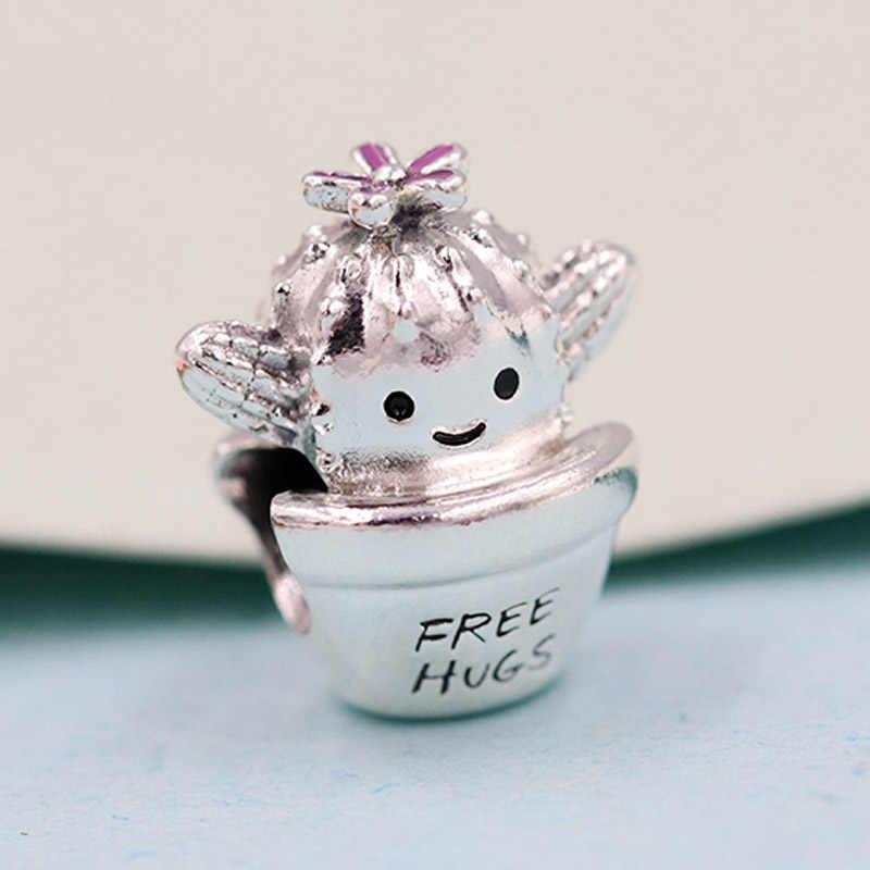 Asli Vintage Gratis Pelukan Kaktus Kecil Pot Bunga Manik-manik Fit 925 Sterling Silver Pesona Gelang Bangle Perhiasan