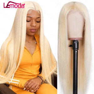 613 Frontal Wig Blonde Lace Front Human Hair Wigs Preplucked Brazilian 150% Lemoda Remy Straight 13x1 Middle Part Wigs For Women