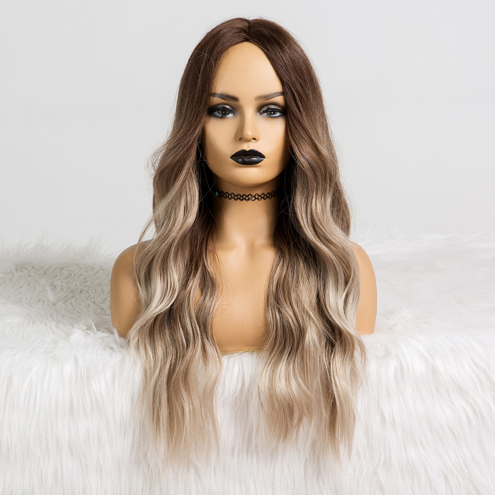 Long Water Wavy Synthetic Wigs Ombre Brown Middle Part Natural Hair Wigs For Women Cosplay Wigs Heat Resistant Fiber 5