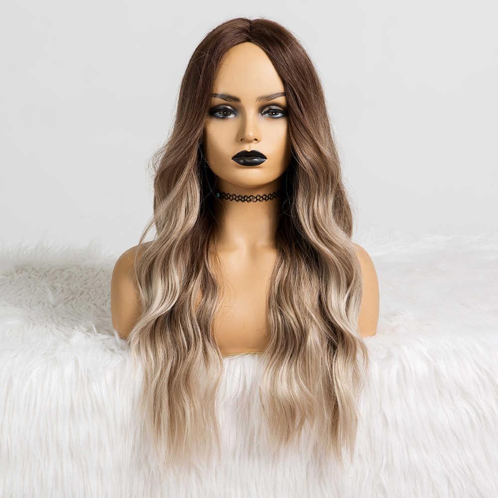 Lange Water Golvend Synthetische Pruiken Ombre Bruin Midden Deel Natuurlijke Haar Pruiken Voor Vrouwen Cosplay Pruiken Hittebestendige Vezel