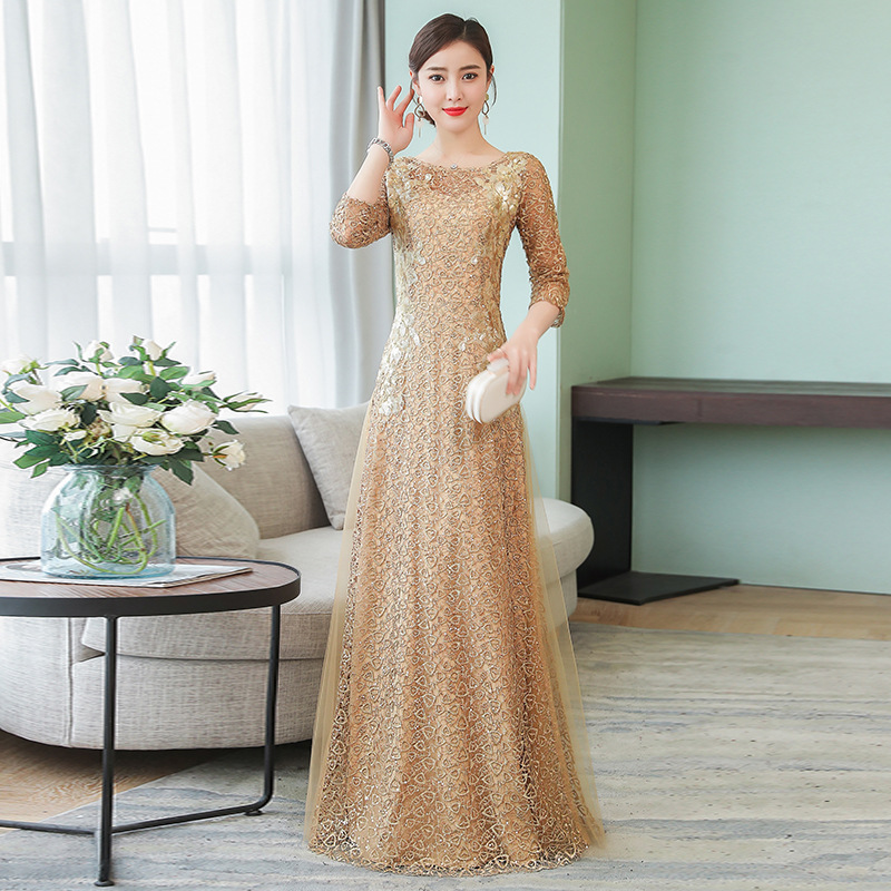 Evening Gown Dress New Style Banquet Nobility Elegant Long Large Size Annual General Meeting Host Industrial Dress