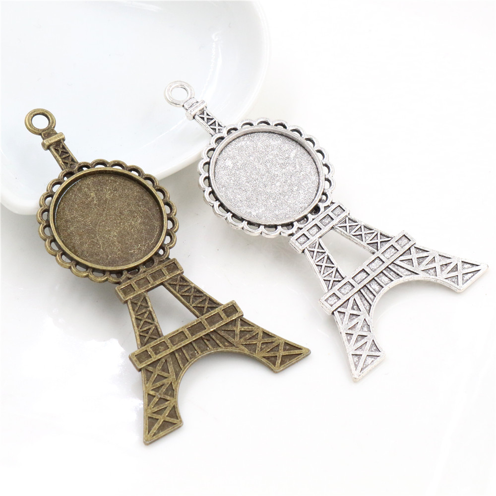 5pcs 20mm Inner Size Antique Silver Plated And Bronze Tower Style Cabochon Base Setting Charms Pendant