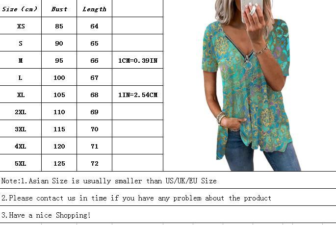Summer Retro Print V Neck Tshirt Loose Zipper Short Sleeve T-shirt Female Casual Plus Size Shirt Fashion Women's Tops