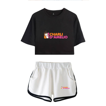 New Charli DAmelio Ice Coffee Splatter Women Two Piece Set Shorts+lovely T-shirt Sexy charli damelio merch Sport suit Girl 7