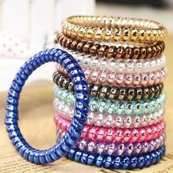 Multicolore élastique cheveux chouchous téléphone fil ligne Bracelets bandeaux spirale forme queue de cheval cheveux cravates gomme caoutchouc cheveux corde