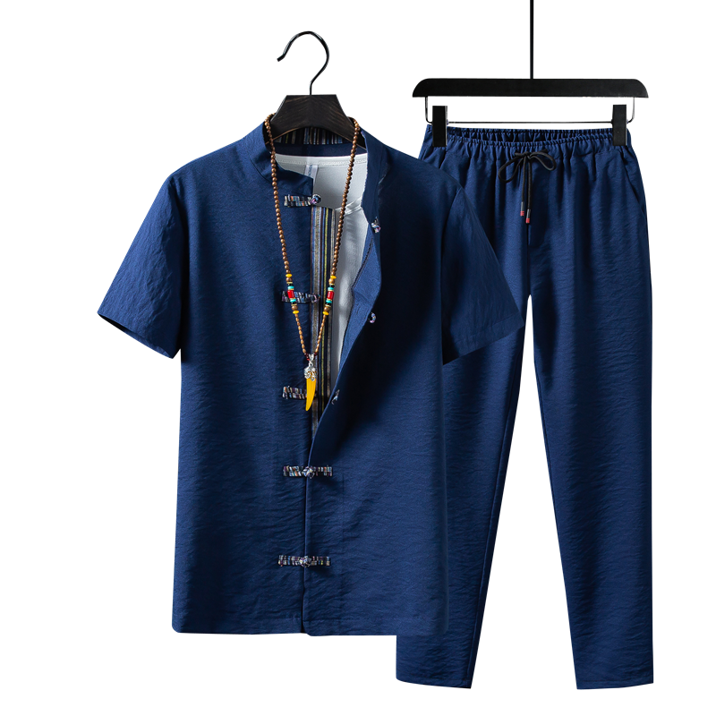 Summer New Men Two-piece Set Fashion Retro Men Shirt With Short Sleeves And Ankle-Length Pants Large Size S-5xl Mens Sets