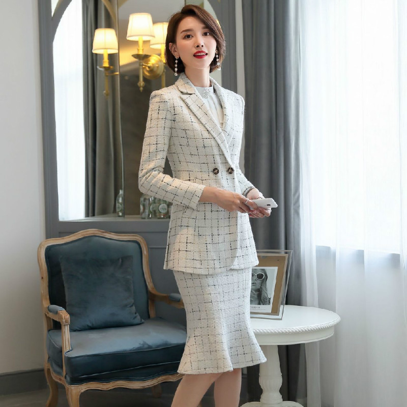2020 New Women's Skirt Suits Two-piece Suit Casual Winter Thick Long Sleeve Ladies Jacket Blazer Slim High Waist Skirt Feminine