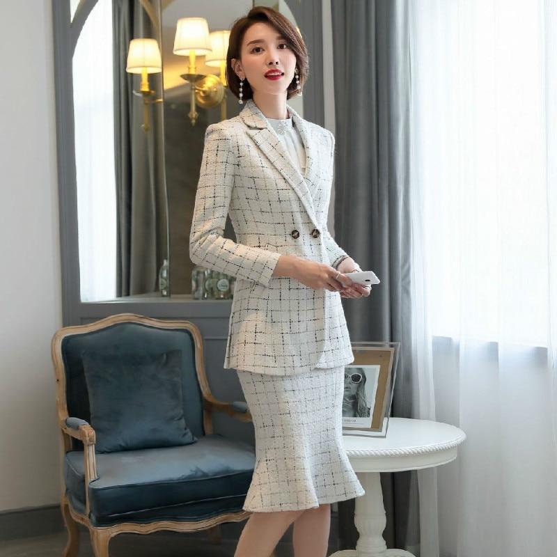 2020 New Women's Skirt Suits Two-piece Suit Casual Winter Thick Long Sleeve Ladies Jacket Blazer Slim High Waist Skirt Feminine