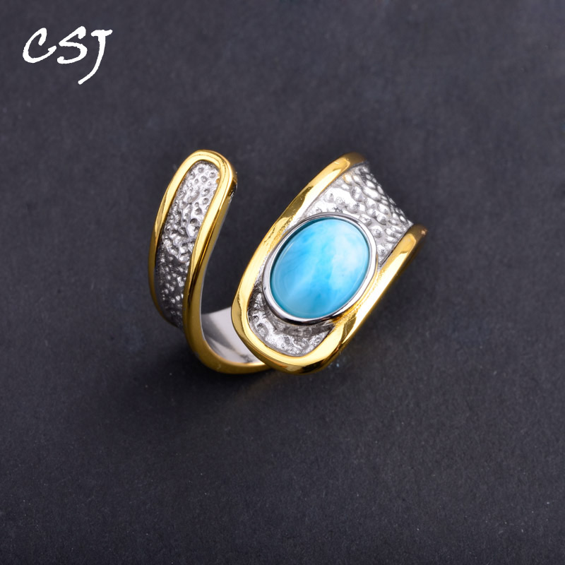 CSJ New Design Natural Blue Larimar Rings sterling 925 silver Jewelry Wedding Engagement Party for Women Lady Girl Gift