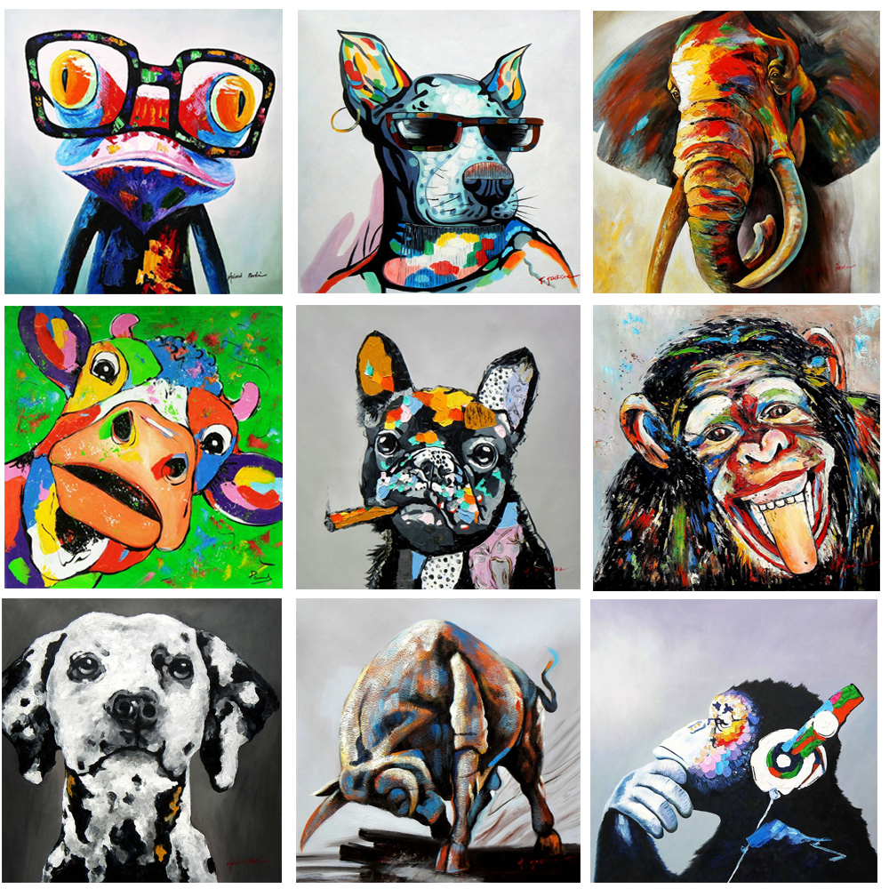 Animals Graffiti Art Dog Monkey Paintings on Canvas Pop Street Art Wall Pictures for Kid's Room Posters Prints Home Wall Decor image