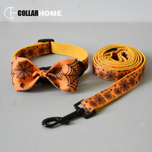 Dog collar with bow tie for small medium dogs  Halloween pet traction rope cat puppy necklace straps leash set factory price